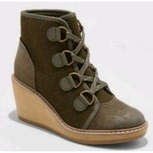 MERONA: Forest Green Lace-Up Booties